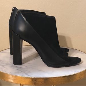 Vince suede and leather ankle bootie.